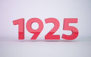 3d rendering red year 1925 on white background