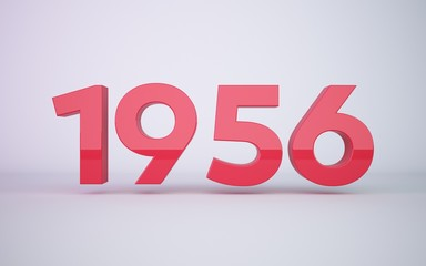 3d rendering red year 1956 on white background