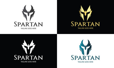 Spartan logo design template ,Helmet logo design concept ,Vector illustration
