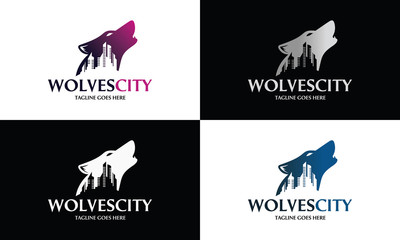 Wolf City logo design template ,Vector illustration