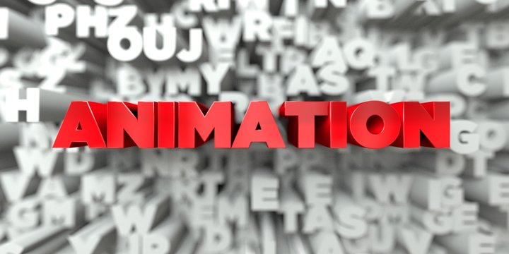 ANIMATION -  Red text on typography background - 3D rendered royalty free stock image. This image can be used for an online website banner ad or a print postcard.