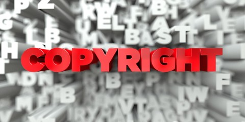 COPYRIGHT -  Red text on typography background - 3D rendered royalty free stock image. This image can be used for an online website banner ad or a print postcard.