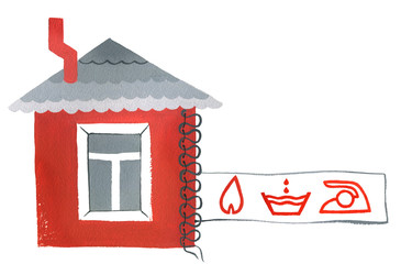 Phobia  and mania, Red house with insurance label on a white background