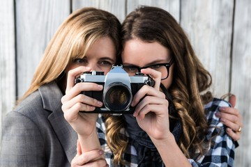 Mother and daughter taking a picture