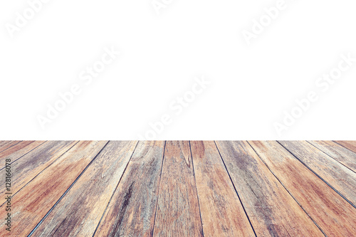 Empty perspective wooden table top isolated on white Stock photo