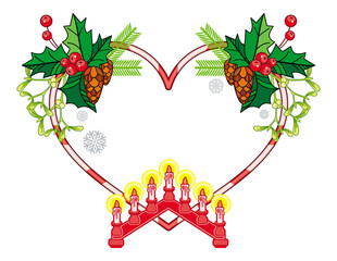Heart-shaped frame with Christmas decorations and light candle arch.