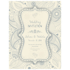 Wedding Invitation. Greeting Card with Flowers in a folk style