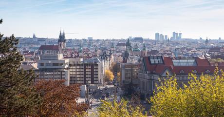 cityscape in Prague in autumn, Czech Republic, square, narrow streets, the historic center, public parks, autumn in the city, a European city, travel