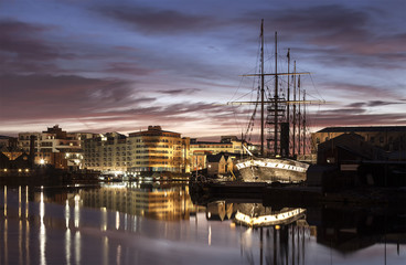 Brunel's SS Great Britan at night