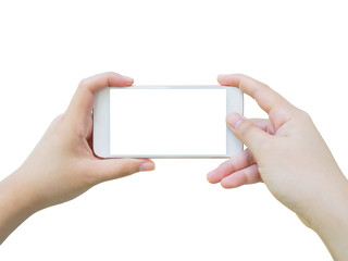 Hand holding smart phone taking photo isolated on white backgrou