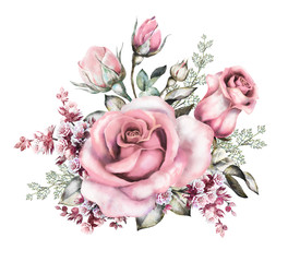 watercolor flowers. floral illustration in Pastel colors, pink rose. branch of flowers isolated on white background. Leaf and buds. Cute composition for wedding or bouquet for greeting card