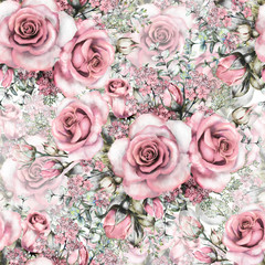 Seamless pattern with pink flowers and leaves, watercolor floral pattern, flower rose in pastel color, seamless flower pattern for wallpaper, card or fabric