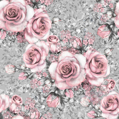 Seamless pattern with pink flowers and leaves on gray background, watercolor floral pattern, flower rose in pastel color, seamless flower pattern for wallpaper, card or fabric