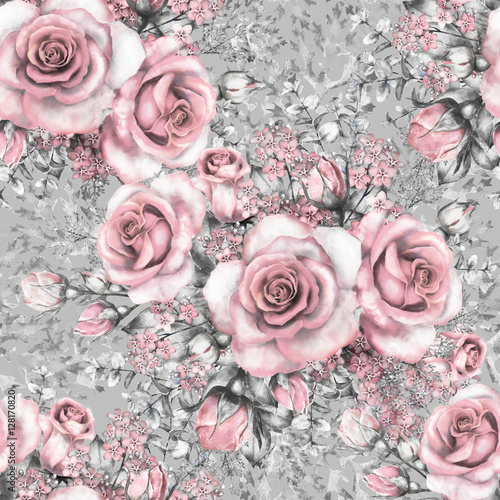 Seamless Pattern With Pink Flowers And Leaves On Gray Background Watercolor Floral Flower