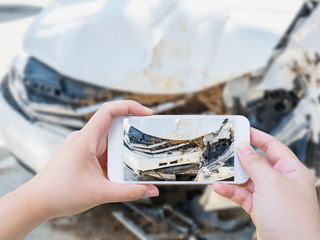 taking photo of the car crash accident damage