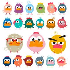 Chicken. Funky Birds Set. Vector Funny Animals.