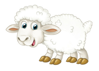 Cartoon happy sheep is standing looking and smiling - artistic style - isolated - illustration for children