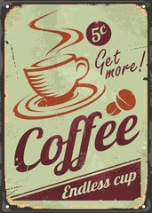 Vintage coffee sign on old metal background