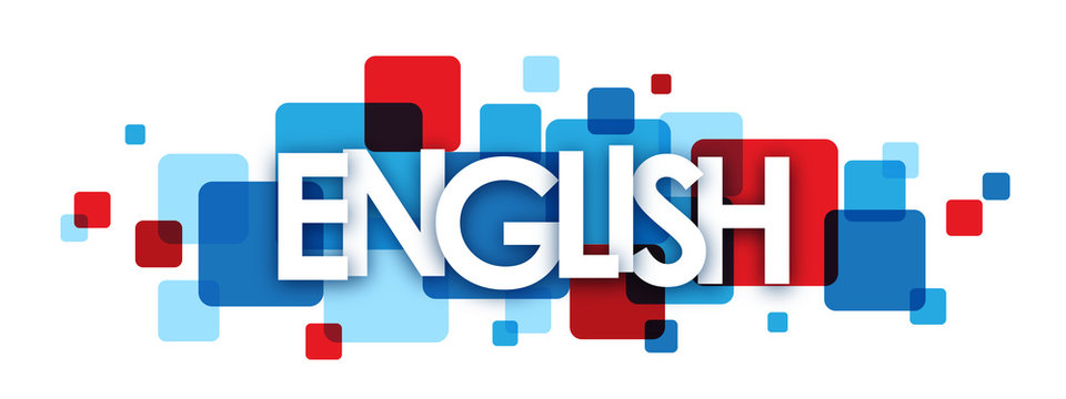 """""""ENGLISH"""" blue and red vector letters icon"""