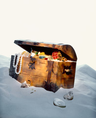 Buried Pirates Treasure Chest at the shore