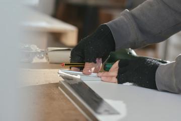 Carpenter working on a furniture piece