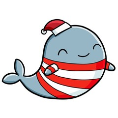 Funny and cute whale wearing shirt and santa's hat - vector.