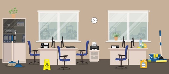 "Cleaning in the office room. There is a ""Caution! Wet floor"" sign, a mop, a broom, a scoop near the furniture in white color in the picture. Vector illustration"
