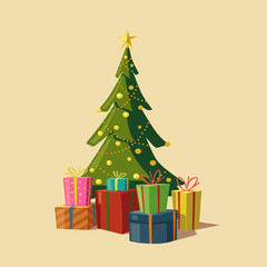 Christmas tree with gifts. Cartoon vector illustration