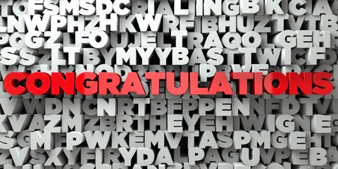 CONGRATULATIONS -  Red text on typography background - 3D rendered royalty free stock image. This image can be used for an online website banner ad or a print postcard.