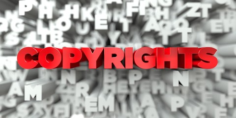 COPYRIGHTS -  Red text on typography background - 3D rendered royalty free stock image. This image can be used for an online website banner ad or a print postcard.