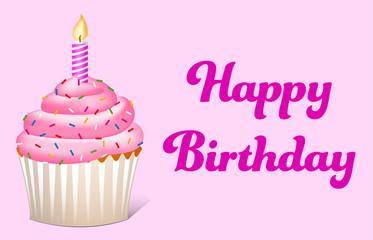 Happy Birthday Text mit Cupcake in rosa und lila