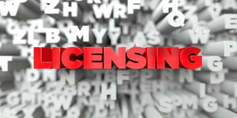 LICENSING -  Red text on typography background - 3D rendered royalty free stock image. This image can be used for an online website banner ad or a print postcard.