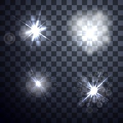 Set of vector glowing light effect on transparent background