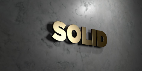 Solid - Gold sign mounted on glossy marble wall  - 3D rendered royalty free stock illustration. This image can be used for an online website banner ad or a print postcard.