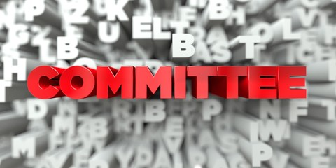 COMMITTEE -  Red text on typography background - 3D rendered royalty free stock image. This image can be used for an online website banner ad or a print postcard.
