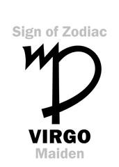 Astrology Alphabet: Sign of Zodiac VIRGO (The Maiden). Hieroglyphics character sign (single symbol).