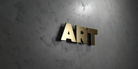 Art - Gold sign mounted on glossy marble wall  - 3D rendered royalty free stock illustration. This image can be used for an online website banner ad or a print postcard.