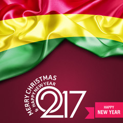 Merry Christmas and Happy new year 2017 Ribbon banner background Bolivia flag. 3d illustration