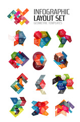 Set of abstract geometric paper graphic layouts