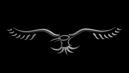 Crow raven metallic sign symbol tribal tatoo style 3d illustration render