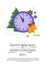 Merry Christmas Happy New Year Simple Line Sketch Banner Card Outline Vector Illustration
