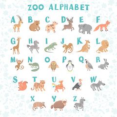 Cute vector zoo alphabet. Funny cartoon animals. Letters. Learn to read.