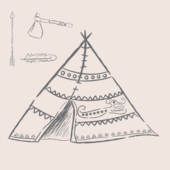 Hand drawn illustrations wigwam with decorative elements and a set of arrows, feather and tomahawk. Authentic tepee for design card. North American Indian wigwam