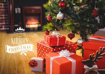 Digitally composite image of merry christmas message against chr
