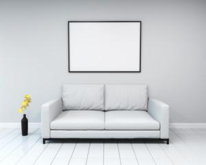 Interior mockup. Blank frame on wall