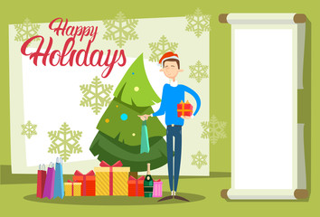 Business Man Hold Present Box Gift Merry Christmas And Happy New Year Flat Vector Illustration