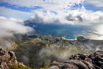 Aerial view of city and Table Bay from Table Mountain, Cape Town, South Africa