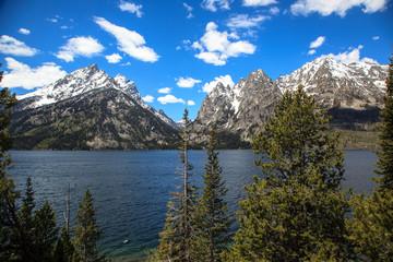 Snowy mountains and lakes. Grand Teton National Park.