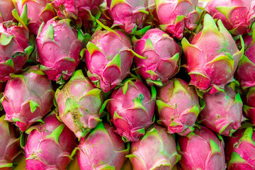 Dragon fruit in a store on Thai market,Thai fruit, dragon fruit