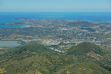 Aerial view of the city of Noumea on the southwest coast of New Caledonia island, south Pacific ocean